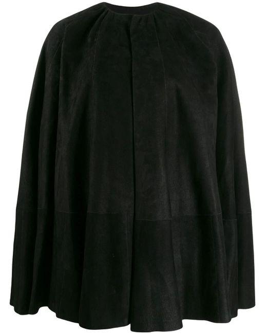 Mantella in pelle di Rick Owens in Black