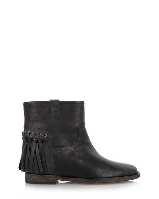 via roma 15 fringed ankle boots in black save 40 lyst