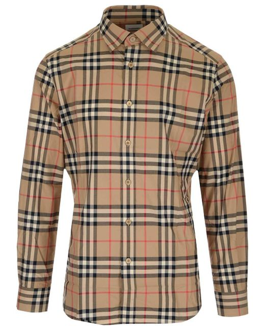 Camicia con motivo tartan di Burberry in Natural da Uomo