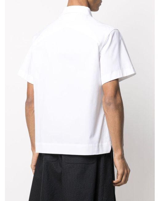 Camicia in popeline stretch di Bottega Veneta in White da Uomo