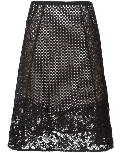 See By Chloé   Black Lace A-line Knee-length Skirt   Lyst