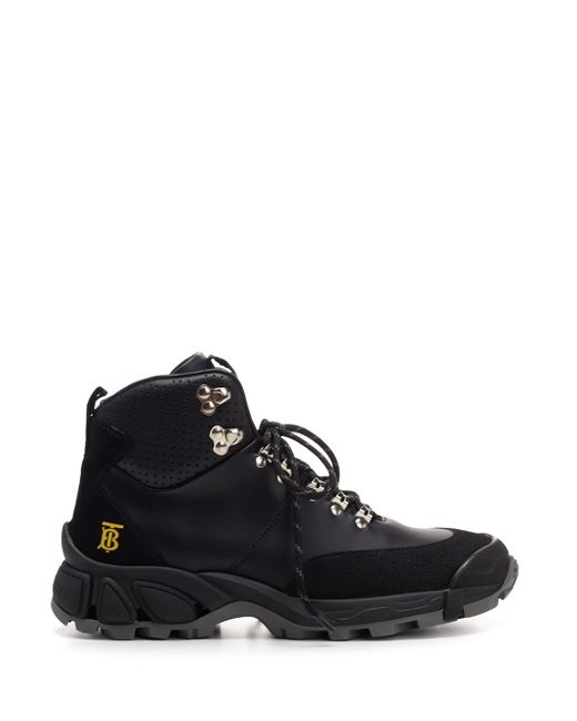 Burberry Tor Boots In Black Leather for men