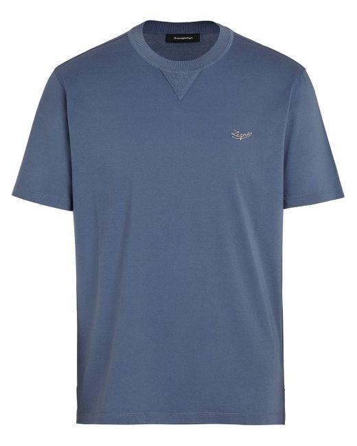 Ermenegildo Zegna Blue Blu Cotton T-shirt
