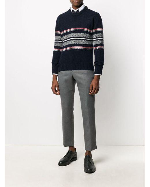 Pullover girocollo in lana e mohair di Thom Browne in Blue da Uomo