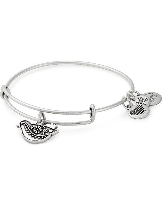 ALEX AND ANI - Metallic Dove Charm Bangle Bracelet - Lyst