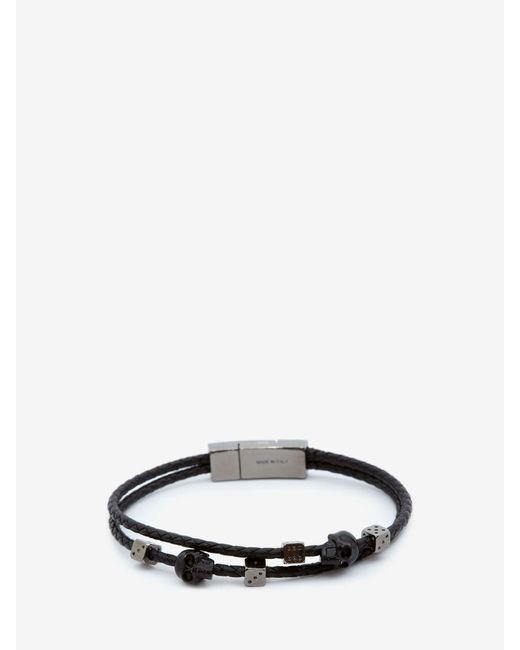 メンズ Alexander McQueen Skull Braided Leather Bracelet Black