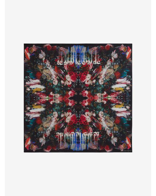 Alexander McQueen - Black Dripping Flower Silk Scarf - Lyst