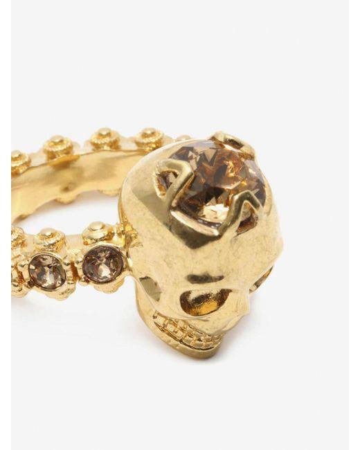 Alexander McQueen Jewelled Skull Ring Metallic