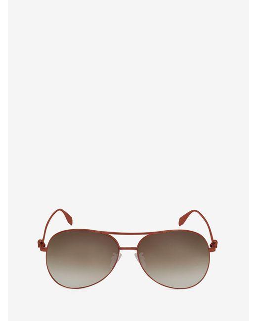 Alexander McQueen Lightweight Metal Skull Pilot Sunglasses Brown