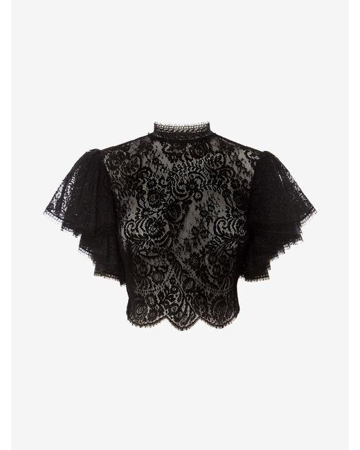 Alexander McQueen Lace Crop Top Black