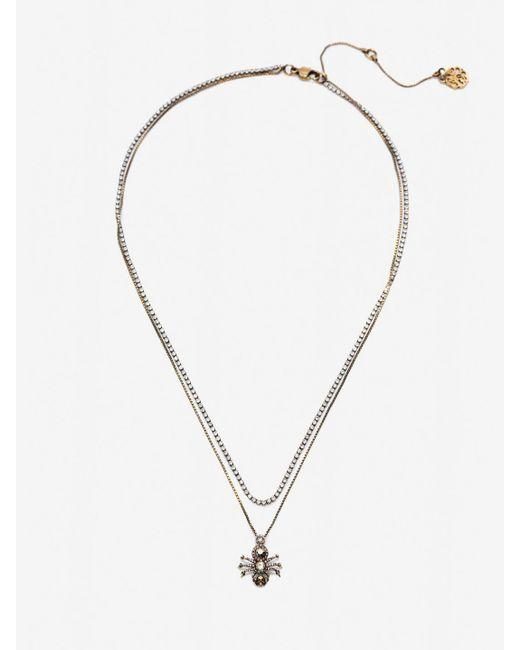 Alexander McQueen Metallic Pave Spider Necklace