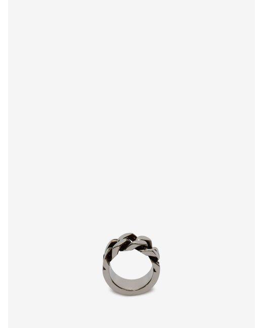 Alexander McQueen Ring mit Kettengliedern in Metallic für Herren