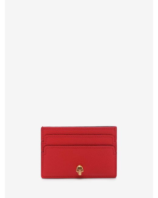 Alexander McQueen - Red Leather Skull Card Holder - Lyst