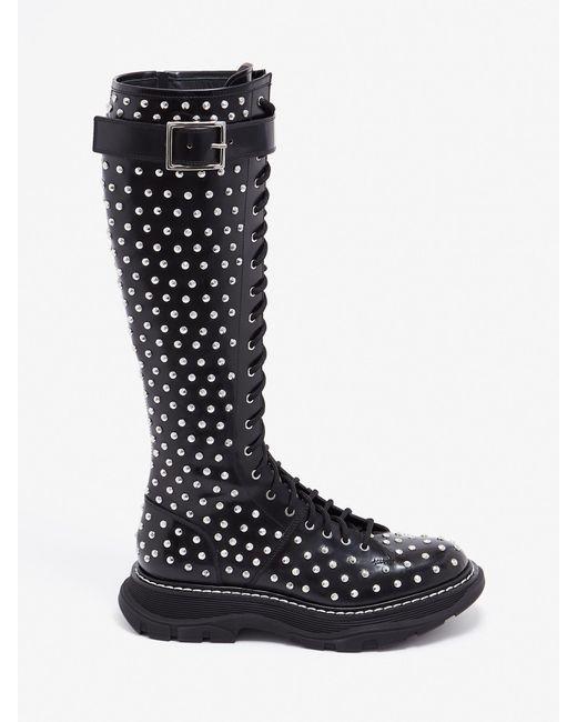 Bottes à lacets et à semelle crantée Alexander McQueen en coloris Black