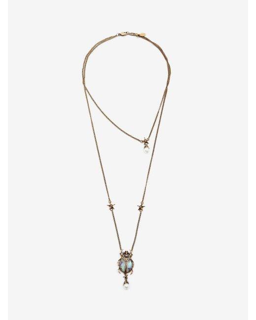 Alexander McQueen - Metallic Double-wrap Beetle Necklace - Lyst