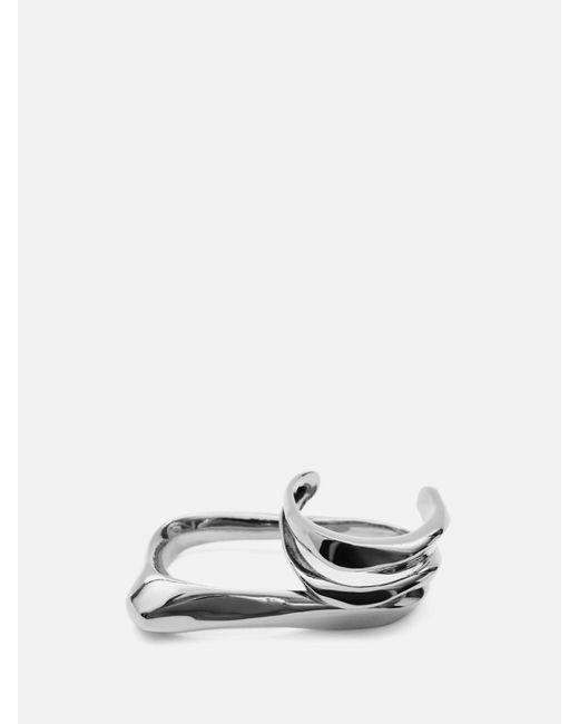 Alexander McQueen スカルプチュアル ダブルリング Metallic