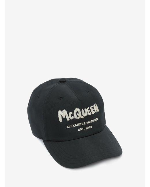 メンズ Alexander McQueen マックイーン グラフィティ ベースボールキャップ Black