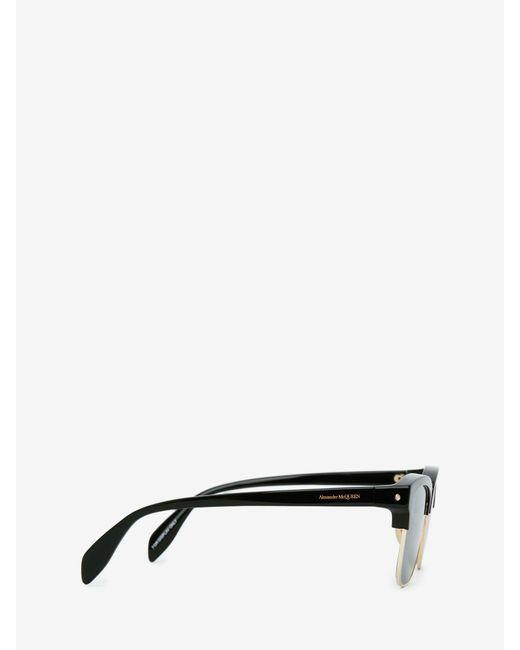 メンズ Alexander McQueen ピアス スクエア サングラス Metallic