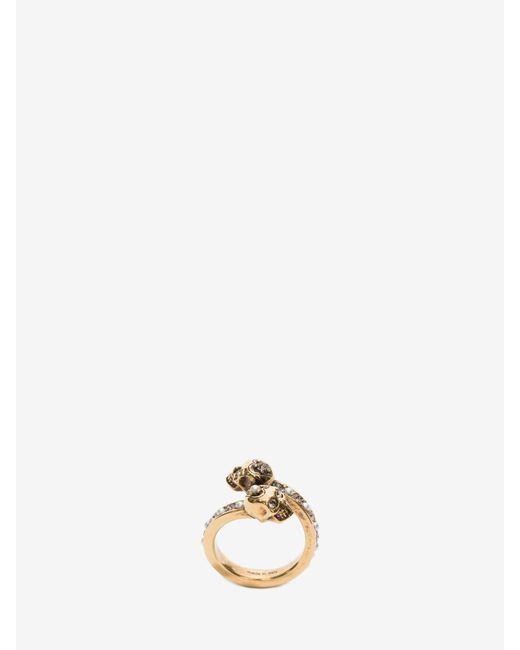 Alexander McQueen Wrap-around Skull Ring Metallic