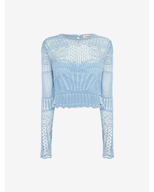 Alexander McQueen Patchwork Lace Knitted Top Blue