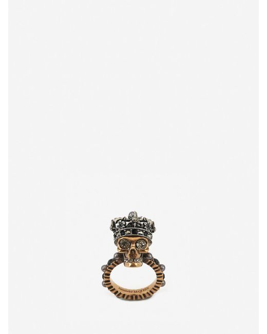 Alexander McQueen Metallic Queen Skull Ring
