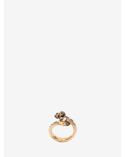 Alexander McQueen   Metallic Wrap-around Skull Ring   Lyst