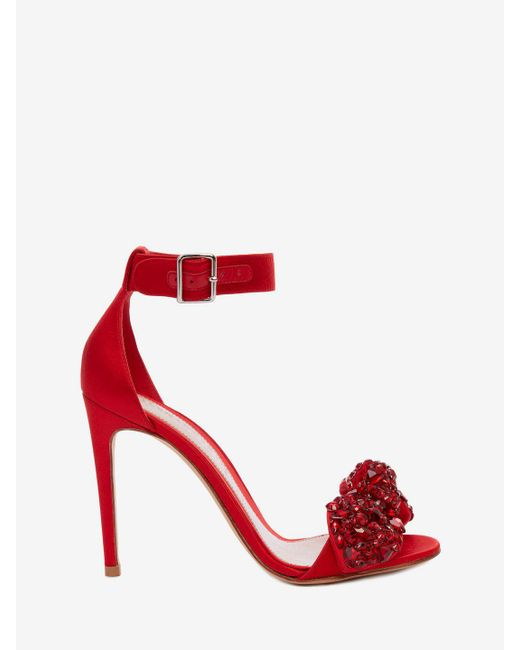 Alexander McQueen - Bow Embroidered Sandal - Lyst