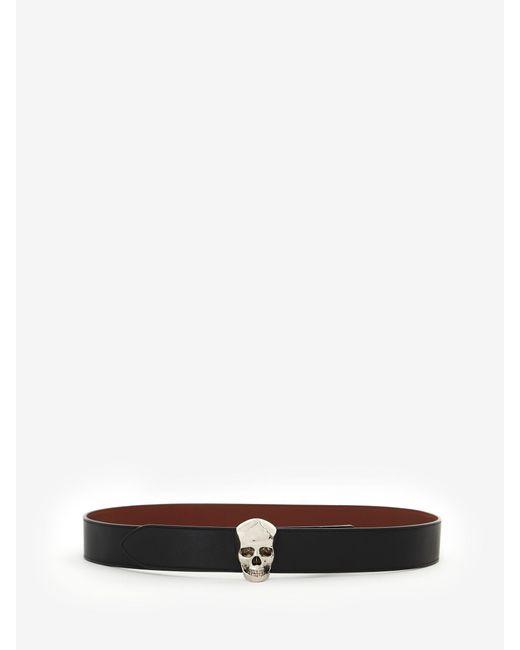 メンズ Alexander McQueen 3d スカル ベルト Black