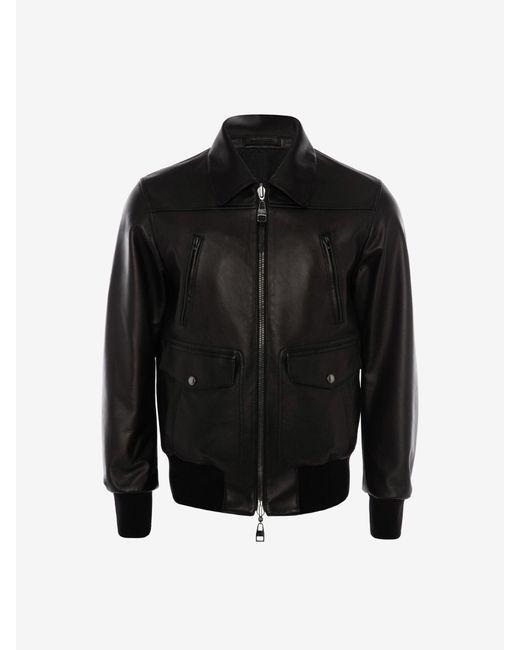 メンズ Alexander McQueen リバーシブル レザー ボンバージャケット Black