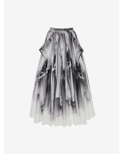 Alexander McQueen Tulle Toile Bow Drape Faille Skirt Black