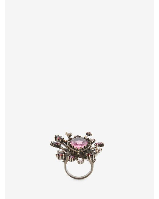 Alexander McQueen | Multicolor Jeweled Rose Ring | Lyst