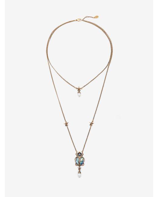 Alexander McQueen Metallic Double-wrap Beetle Necklace