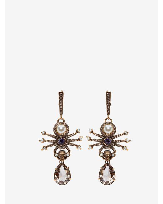 Alexander McQueen Spider Earrings Metallic