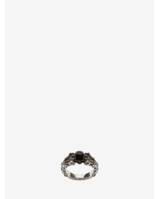Alexander McQueen | Gray Medallion Ring | Lyst