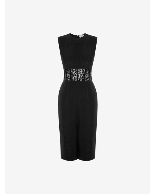 Alexander McQueen Lace Corset Pencil Dress Black
