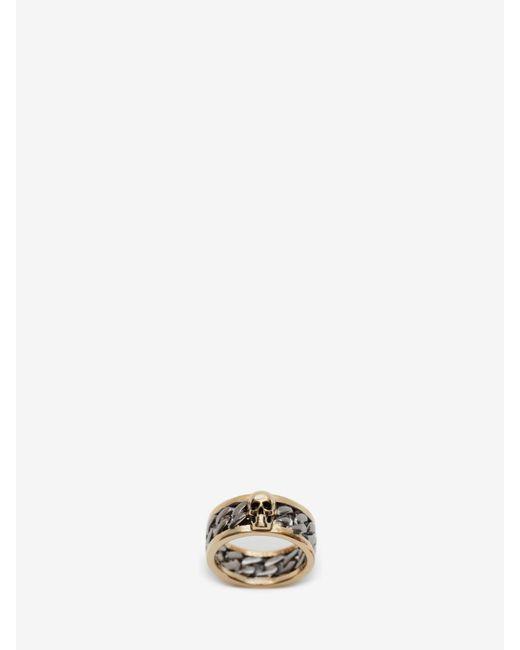 メンズ Alexander McQueen Skull Chain Ring Metallic
