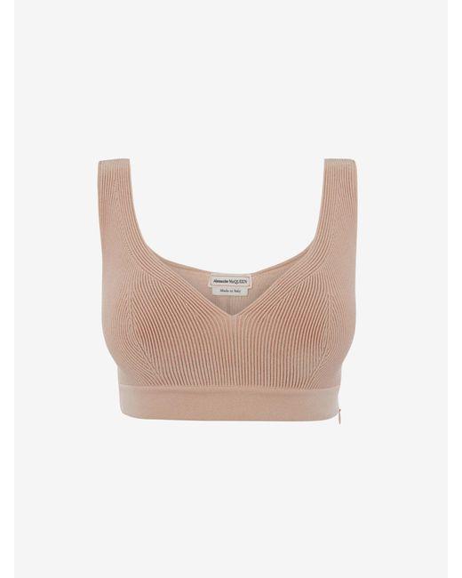 Alexander McQueen Engineered Knit Bra Top Pink