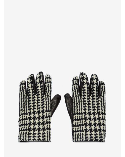 メンズ Alexander McQueen Houndstooth Leather Gloves Black
