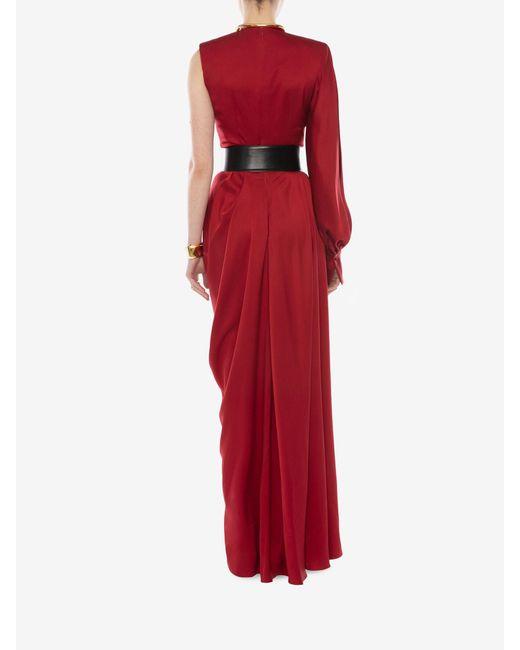 Alexander McQueen ワンスリーブ サテン イブニングドレス Red