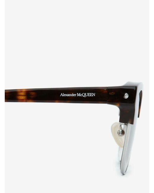 メンズ Alexander McQueen ピアス スクエア サングラス Multicolor