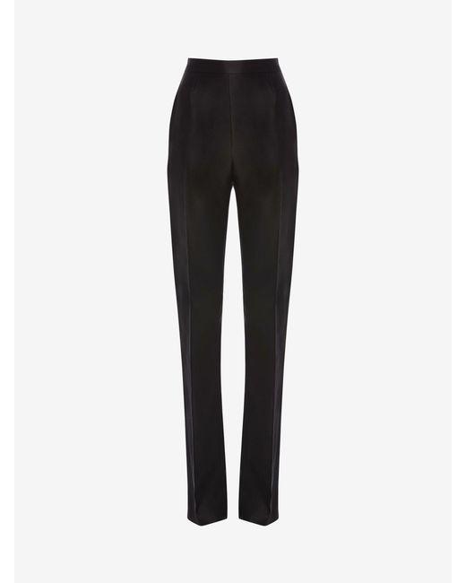 Alexander McQueen Black Light Wool Silk High Waisted Tuxedo Pants