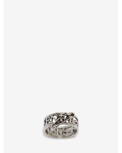 メンズ Alexander McQueen Skull Safety Pin Ring Metallic