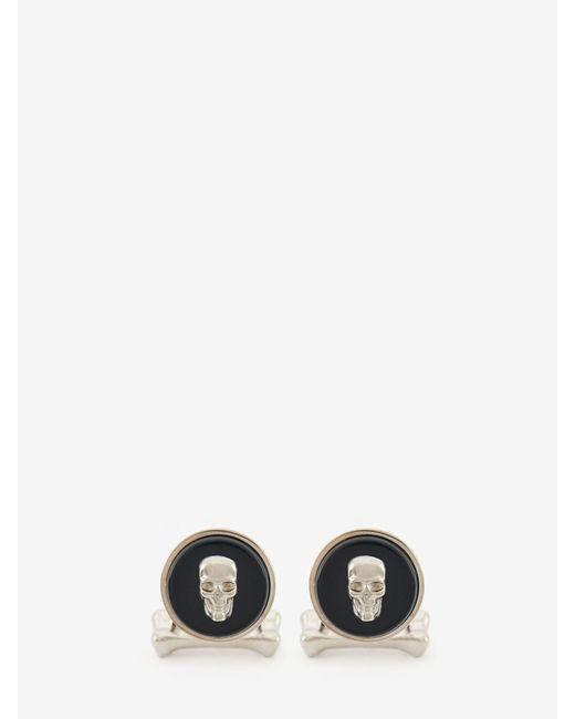 メンズ Alexander McQueen Skull Stone Cufflinks Black