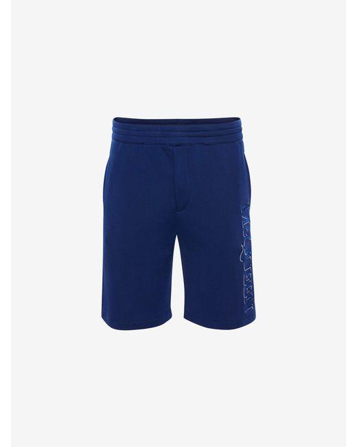 メンズ Alexander McQueen Mcqueen Embroidered Shorts Blue