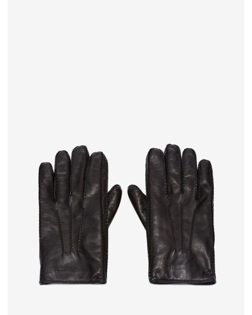 Gants en cuir Alexander McQueen pour homme en coloris Black