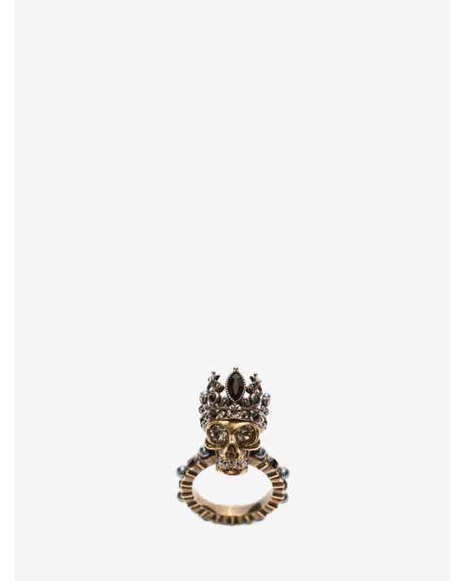 Alexander McQueen King Skull Ring Metallic