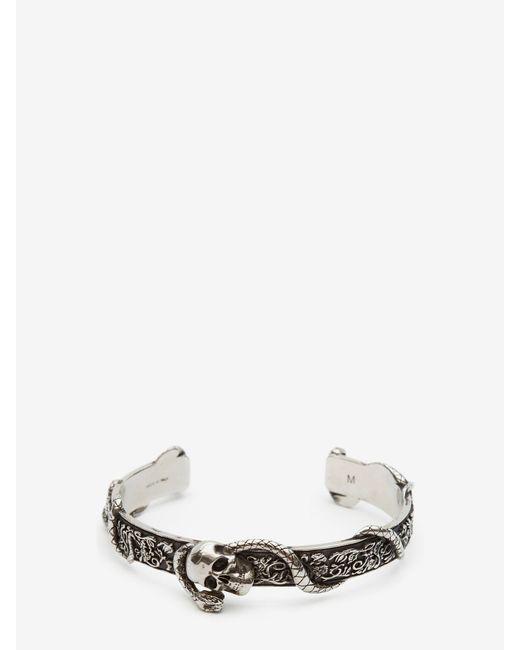 メンズ Alexander McQueen Skull And Snake Bracelet Metallic
