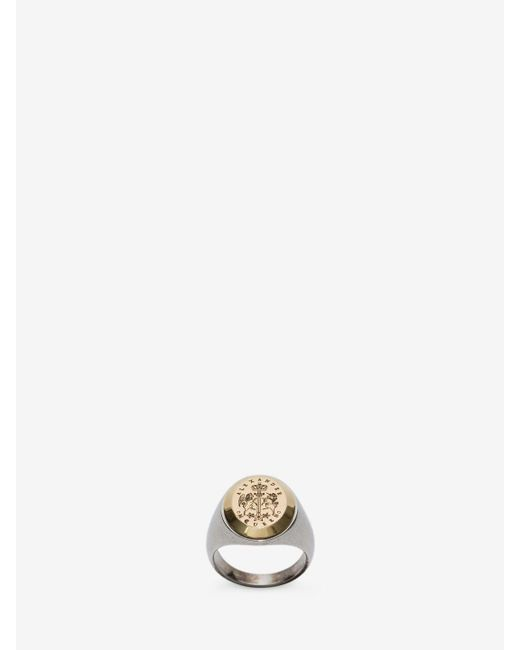 Alexander McQueen | Metallic Signet Ring for Men | Lyst