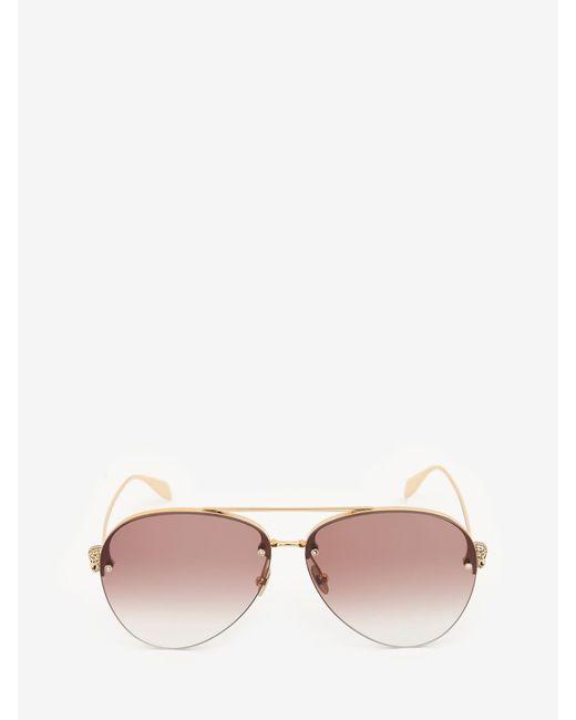 Alexander McQueen Skull Jeweled Pilot Sunglasses Multicolor
