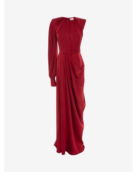 Alexander McQueen One-sleeve Satin Evening Dress Red